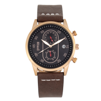 Breed Andreas Leather-Band Watch w/ Date - Rose Gold/Dark Brown BRD8707