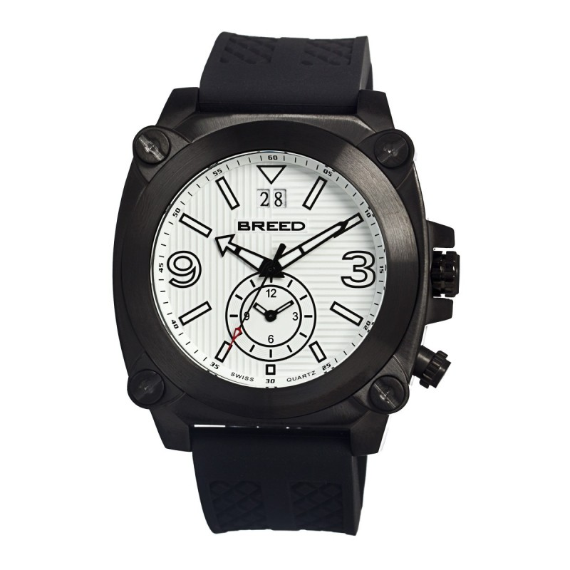 Breed Vin Dual-Time-Zone Swiss Quartz Men's Watch-Black/White BRD9003