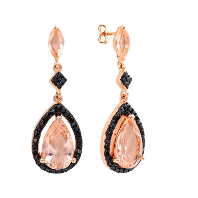 Bertha  Boucles D'oreilles Pendantes Juliet Or Rose 18 Carats BRJ20019EO