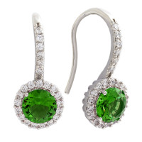 Bertha Juliet 18k White Gold Plated Green Halo Earrings BRJ10525EO
