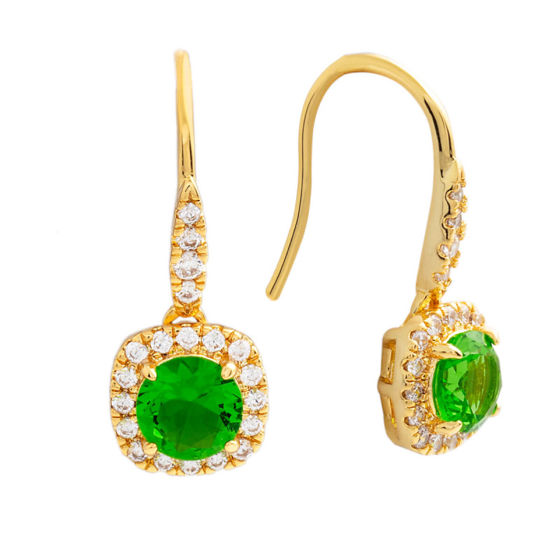 Elegant Confetti  18k Yellow Gold Plated Green Cushion Halo Earrings ECJ3601EO