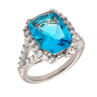 Bertha Juliet 18k White Gold Plated Blue Statement Ring BRJ10645R7