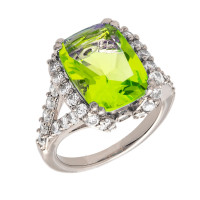 Bertha Juliet 18k White Gold Plated Light Green Statement Ring BRJ10647R7