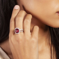 Elegant Confetti  18k White Gold Plated Red Cushion Halo Ring ECJ3103R7