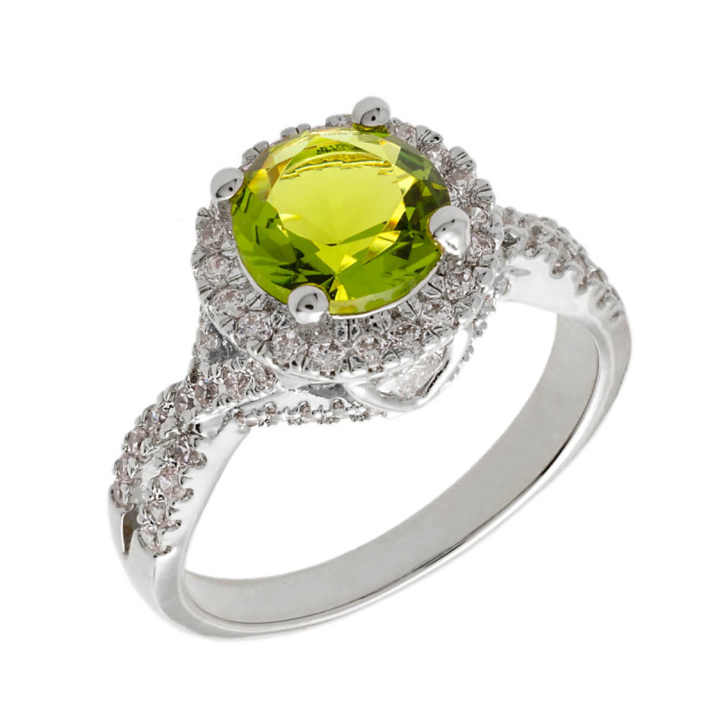 Elegant Confetti Juliet 18k White Gold Plated Light Green Halo Ring ECJ3002R9