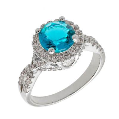 Elegant Confetti  18k White Gold Plated Blue Cushion Halo Ring ECJ3105R7
