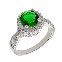 Elegant Confetti  18k White Gold Plated Green Halo Ring ECJ3007R7