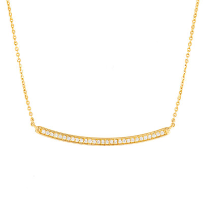 Elegant Confetti  18k Rose Gold Plated Curved Bar Necklace ECJ4203NO
