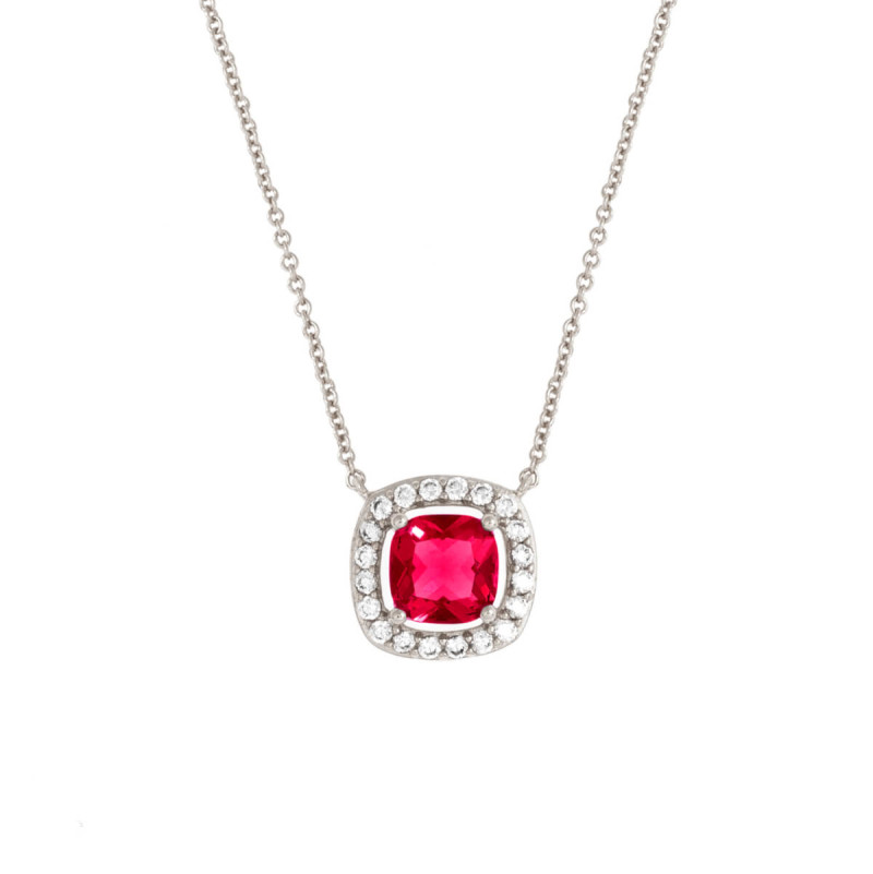 Bertha Juliet 18k White Gold Plated Red Cushion Halo Necklace BRJ20057NO
