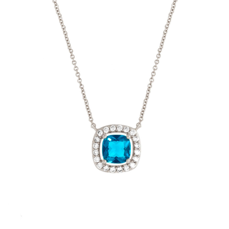 Bertha Juliet 18k White Gold Plated Blue Cushion Halo Necklace BRJ20060NO