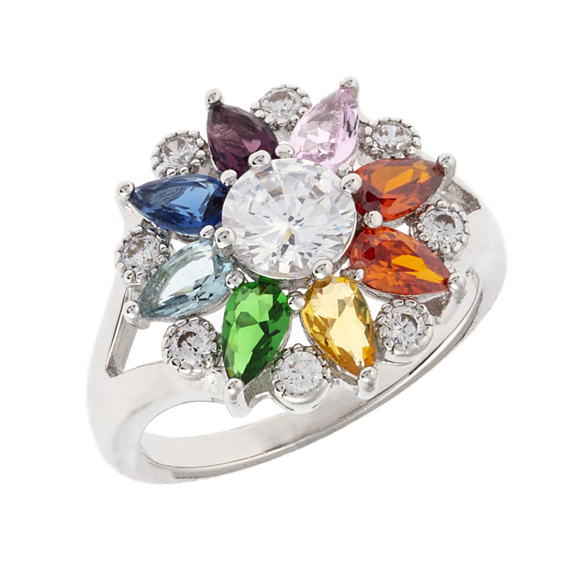Bertha Juliet 18k White Gold Plated Rainbow Floral Statement Ring BRJ20350R7