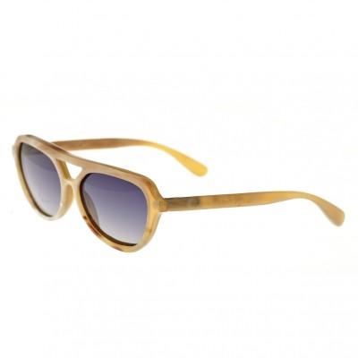 Bertha Brittany Buffalo-Horn Polarized Sunglasses - Vanilla/Black