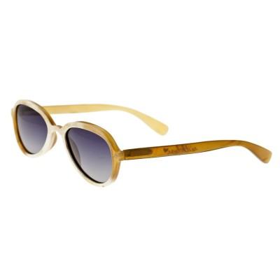 Bertha Alexa Buffalo-Horn Polarized Sunglasses - Cream-Black/Black