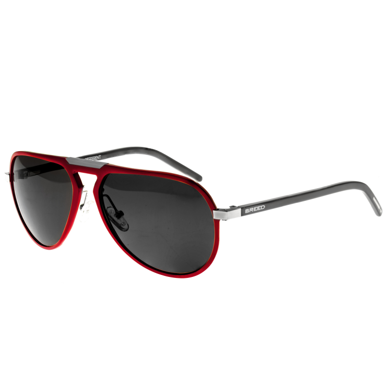 Breed Nova Aluminium Polarized Sunglasses - Red/Black BSG018RD