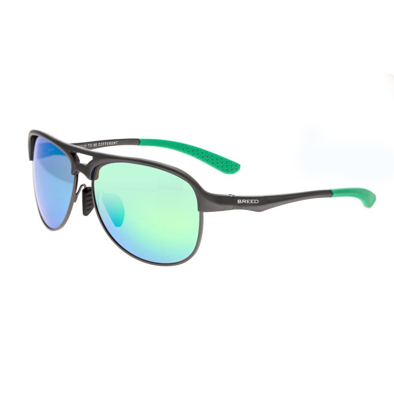 Breed Jupiter Aluminium Polarized Sunglasses - Gunmetal/Blue-Green BSG019GM