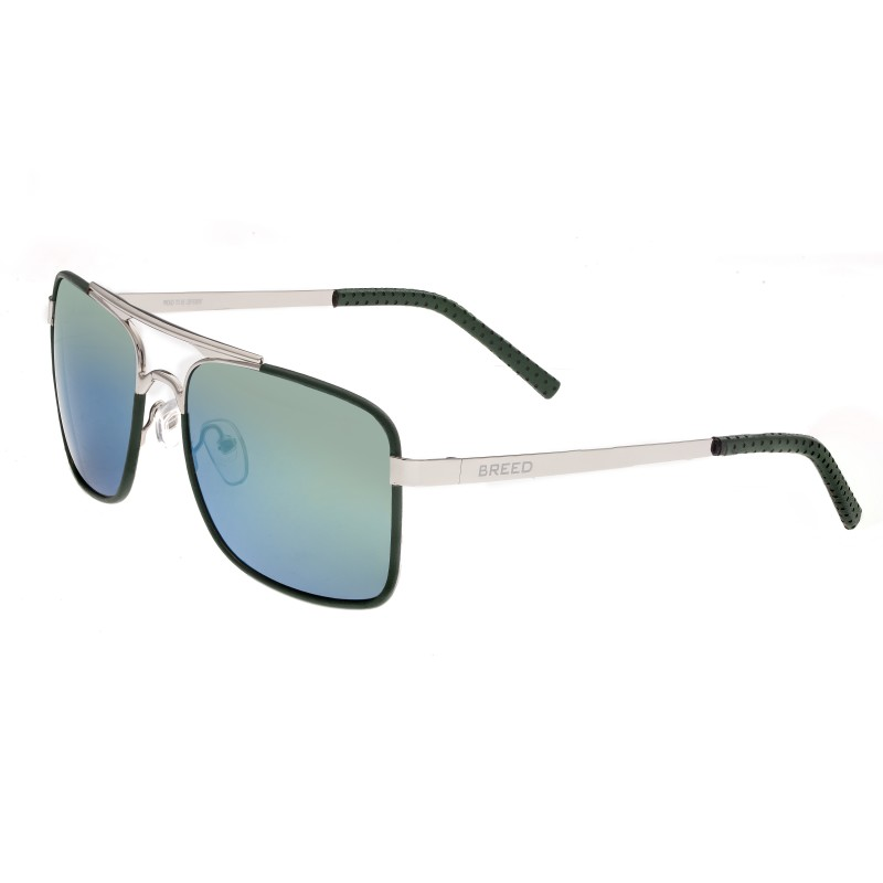 Breed Draco Polarized Sunglasses - Silver/Blue-Green BSG047SL