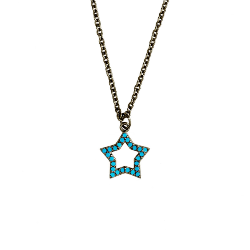 Elegant Confetti  18k Black Gold Plated Blue Star Necklace ECJ10551NO