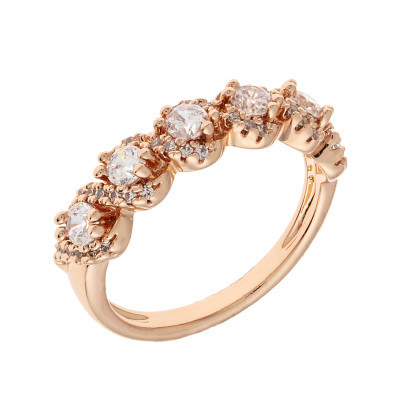 Elegant Confetti  18k Rose Gold Plated Red Floral Halo Ring ECJ10622R5