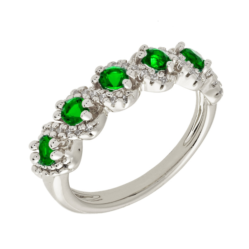Elegant Confetti Paris 18k White Gold Plated Green Half Eternity Ring ECJ10613R5