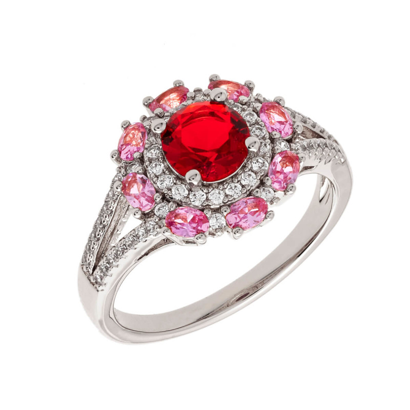 Elegant Confetti Paris 18k White Gold Plated Red Floral Halo Ring ECJ10621R8