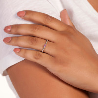 Elegant Confetti  18k White Gold Plated Pink Stone Stackable Ring ECJ20100R7