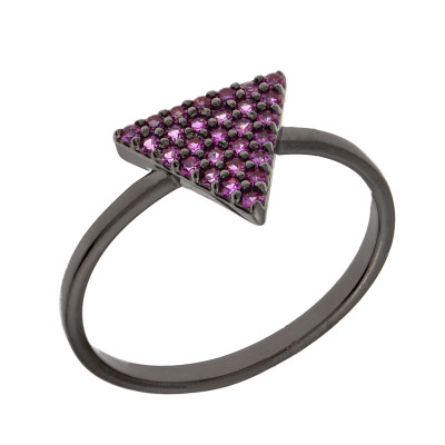 Elegant Confetti Venice 18k White Gold Plated Purple Stone Stackable Ring ECJ20093R5
