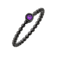 Elegant Confetti Venice 18k Black Gold Plated Purple Stone Stackable Ring ECJ20168R5