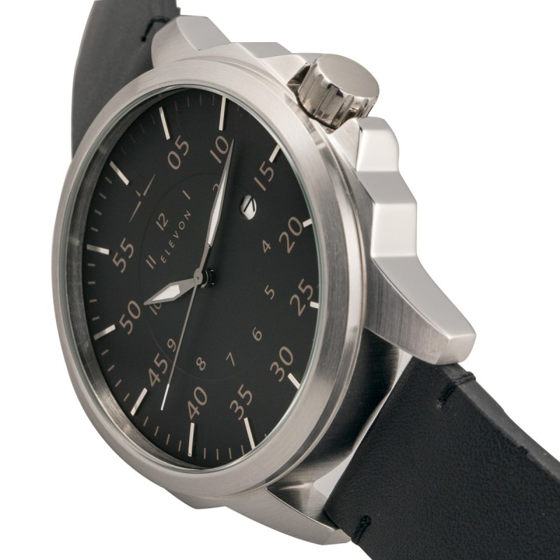 Elevon Hughes Leather-Band Watch w/ Date - Silver/Black/Black ELE101-2