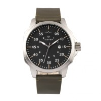 Elevon Hughes Leather-Band Watch w/ Date - Silver/Grey ELE101-7