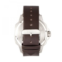 Elevon Hughes Leather-Band Watch w/ Date - Silver/Brown ELE101-4