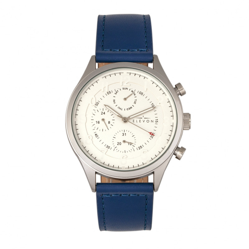 Elevon Lindbergh Leather-Band Watch w/Day/Date -  Blue/White ELE102-2