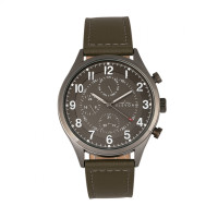 Elevon Lindbergh Leather-Band Watch w/Day/Date -  Brown/Navy ELE102-3