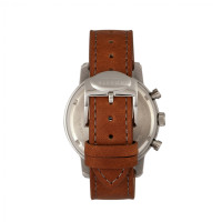 Elevon Langley Chronograph Leather-Band Watch w/ Date - Silver/Brown ELE103-2