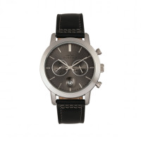 Elevon Langley Chronograph Leather-Band Watch w/ Date - Black ELE103-3