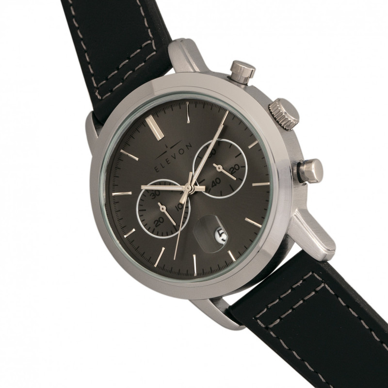Elevon Langley Chronograph Leather-Band Watch w/ Date - Charcoal/Black ELE103-5