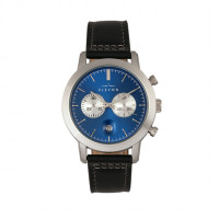Elevon Langley Chronograph Leather-Band Watch w/ Date - Silver/Black ELE103-1