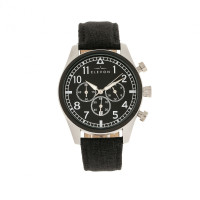 Elevon Curtiss Chronograph Nylon-Overlaid Leather-Band Watch - Beige/Black ELE104-5