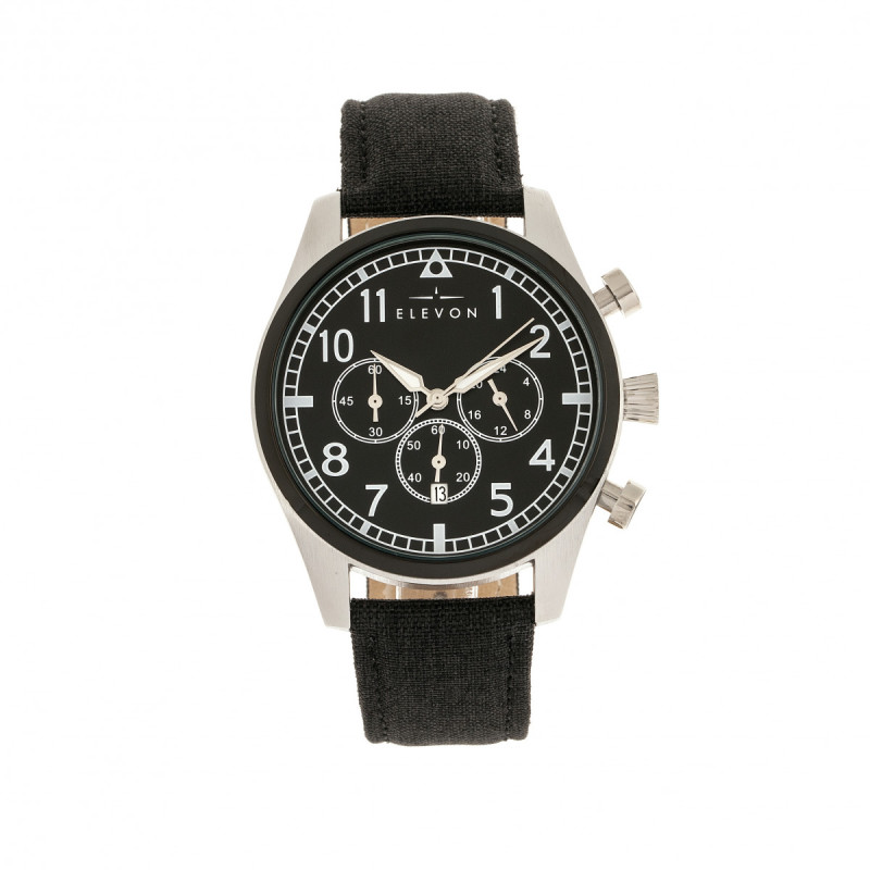 Elevon Curtiss Chronograph Nylon-Overlaid Leather-Band Watch - Silver/Black ELE104-1