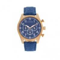 Elevon Curtiss Chronograph Nylon-Overlaid Leather-Band Watch - Rose Gold/Blue ELE104-4