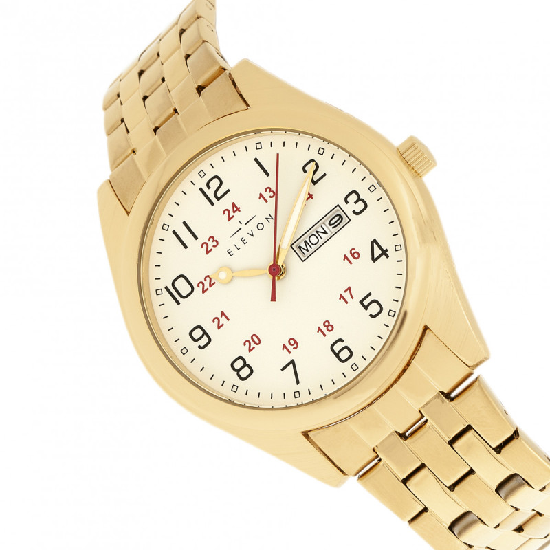 Elevon Gann Bracelet Watch w/Day/Date - Gold/White ELE106-5