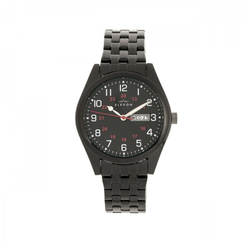 Elevon Gann Bracelet Watch w/Day/Date - Black ELE106-6