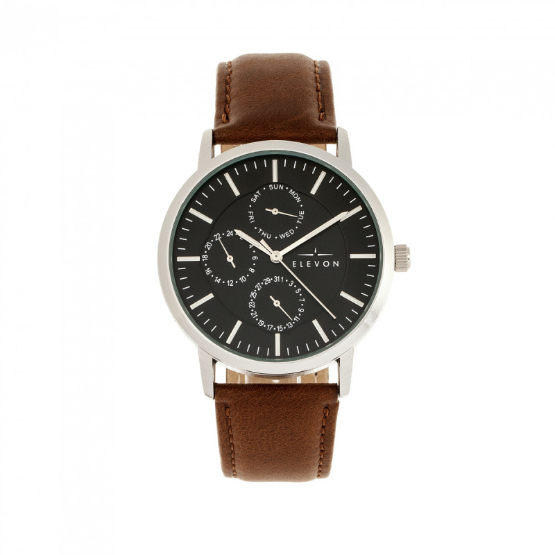 Elevon Lear Leather-Band Watch w/Day/Date - Brown/Silver ELE107-2