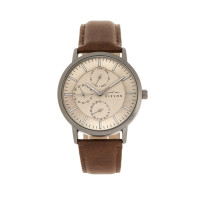 Elevon Lear Leather-Band Watch w/Day/Date - Grey/Gunmetal ELE107-5