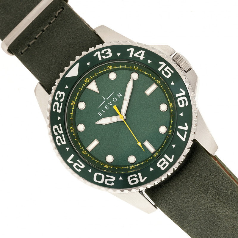 Elevon Dumont Leather-Band Watch - Silver/Green ELE108-3