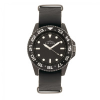 Elevon Dumont Leather-Band Watch - Silver/Black ELE108-1
