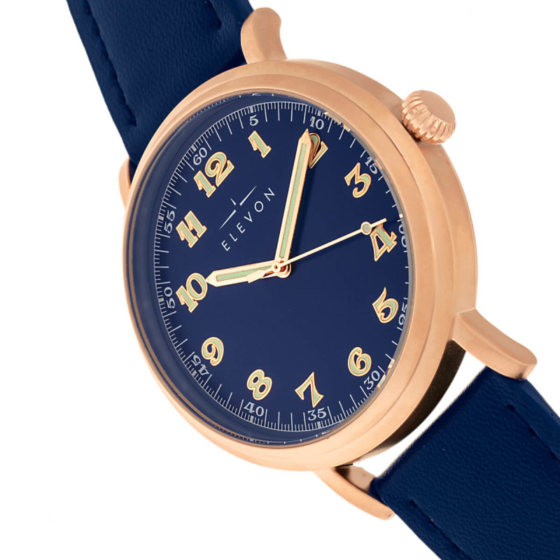 Elevon Felix Leather-Band Watch - Rose Gold/Blue ELE109-4