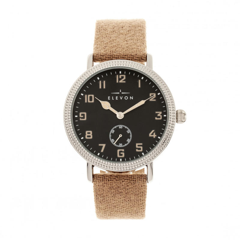 Elevon Northrop Wool-Overlaid Leather-Band Watch - Tan/Black ELE110-4