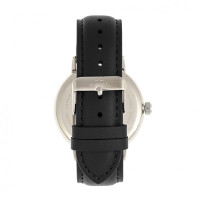 Elevon Vin Leather-Band Watch w/Date - Silver/Black ELE111-2