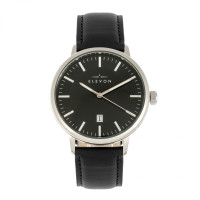 Elevon Vin Leather-Band Watch w/Date - Black ELE111-5