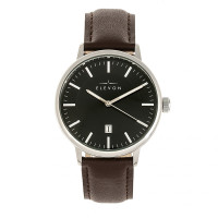 Elevon Vin Leather-Band Watch w/Date - Silver/Brown ELE111-3